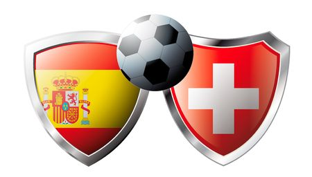 Spain versus Switzerland abstract vector illustration isolated on white background. Soccer match in South Africa 2010. Shiny football shield of flag Spain versus Switzerland Vector