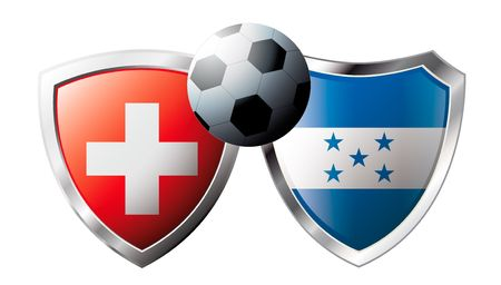 Switzerland versus Honduras abstract vector illustration isolated on white background. Soccer match in South Africa 2010. Shiny football shield of flag Switzerland versus Honduras Vector