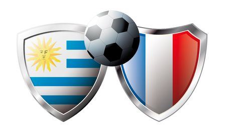 versus: Uruguay versus France abstract vector illustration isolated on white background. Soccer match in South Africa 2010. Shiny football shield of flag Uruguay versus France