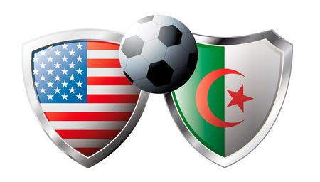 USA versus Algeria abstract vector illustration isolated on white background. Soccer match in South Africa 2010. Shiny football shield of flag USA versus Algeria Vector