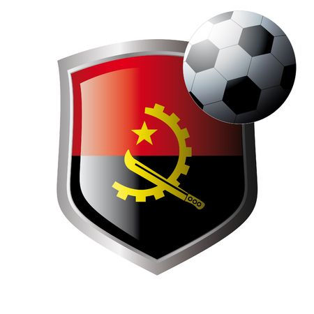 illustration - abstract soccer theme - shiny metal shield isolated on white background with flag of angola Vector