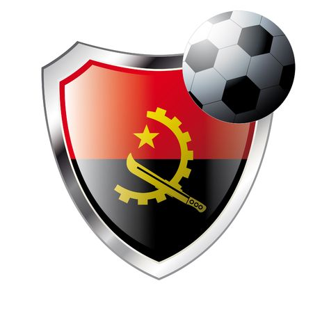 Vector illustration - abstract soccer theme - shiny metal shield isolated on white background with flag of angola Vector
