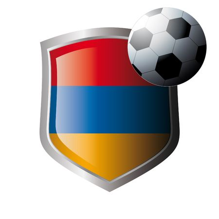 illustration - abstract soccer theme - shiny metal shield isolated on white background with flag of armenia Vector