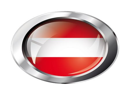 austria shiny button flag illustration. Isolated abstract object against white background. Vector