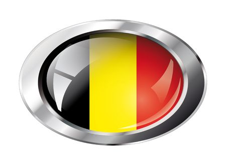 belgium shiny button flag vector illustration. Isolated abstract object against white background. Vector