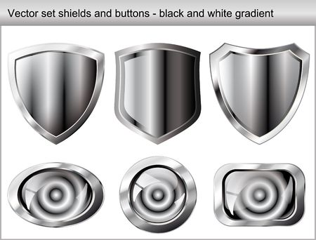 Vector illustration set. Shiny and glossy shield and button with black and white colors. Abstract objects isolated on white background. Vector