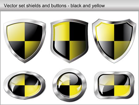 Vector illustration set. Shiny and glossy shield and button with black and yellow colors. Abstract objects isolated on white background. Vector