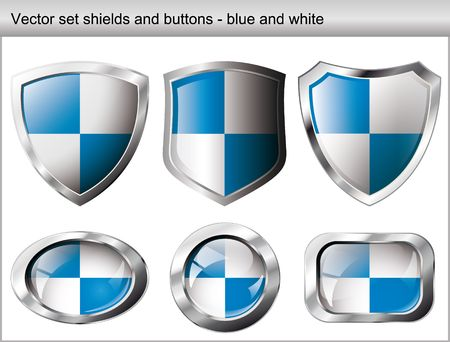 Vector illustration set. Shiny and glossy shield and button with blue and white colors. Abstract objects isolated on white background. Stock Vector - 6905314