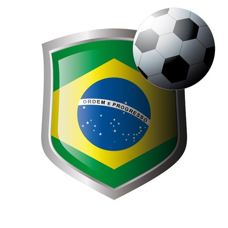 illustration - abstract soccer theme - shiny metal shield isolated on white background with flag of brazil Vector
