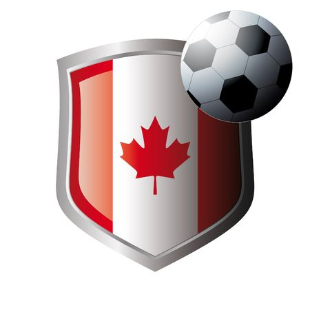 Vector illustration - abstract soccer theme - shiny metal shield isolated on white background with flag of canada Stock Vector - 6905118