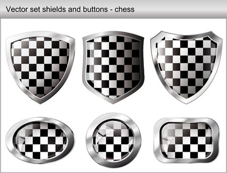 Vector illustration chess set. Shiny and glossy shield and button with black and white colors. Abstract objects isolated on white background. Vector