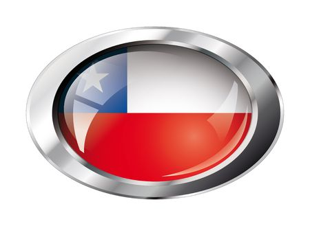 chile shiny button flag illustration. Isolated abstract object against white background. Vector