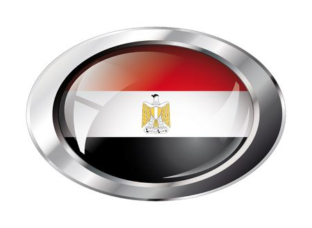egypt shiny button flag illustration. Isolated abstract object against white background. Vector