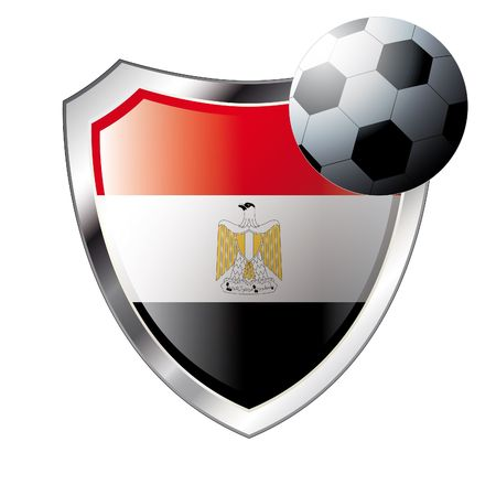 Vector illustration - abstract soccer theme - shiny metal shield isolated on white background with flag of egypt Vector