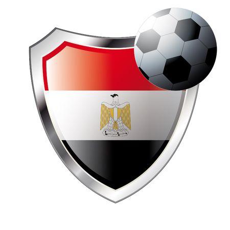 flag of egypt: Vector ilustraci�n - tema de f�tbol abstracta - brillante metal escudo aislado sobre fondo blanco con la bandera de Egipto