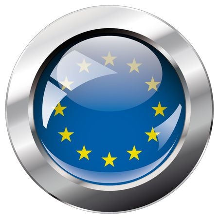 Europe Union shiny button flag vector illustration. Isolated abstract object against white background. Illustration