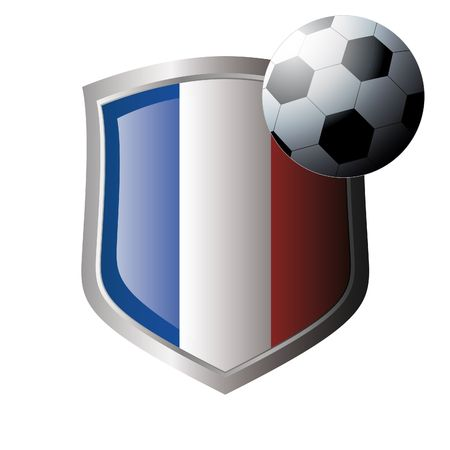 Vecor illustration - abstract soccer theme - shiny metal shield isolated on white background with flag of france Vector