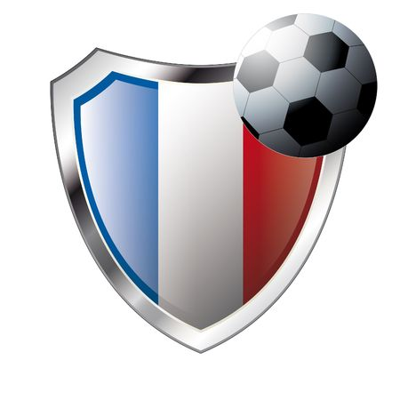 illustration - abstract soccer theme - shiny metal shield isolated on white background with flag of france Vector