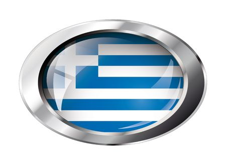 greece shiny button flag vector illustration. Isolated abstract object against white background. Vector