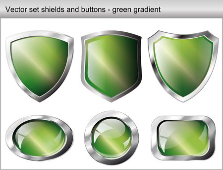 Vector illustration set. Shiny and glossy shield and button with green colors. Abstract objects isolated on white background. Vector