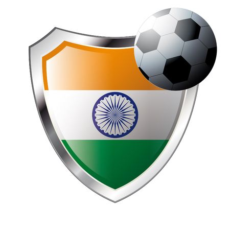illustration - abstract soccer theme - shiny metal shield isolated on white background with flag of india Vector