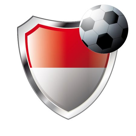 illustration - abstract soccer theme - shiny metal shield isolated on white background with flag of indonesia Stock Vector - 6904972