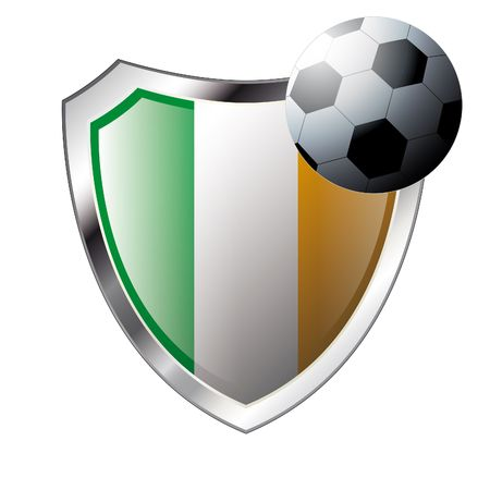 illustration - abstract soccer theme - shiny metal shield isolated on white background with flag of ireland Vector