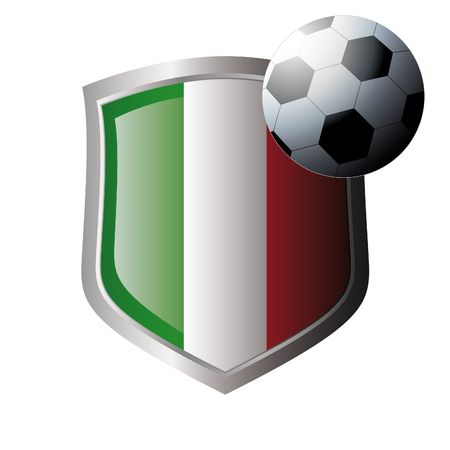 Vector illustration - abstract soccer theme - shiny metal shield isolated on white background with flag of italy Vector
