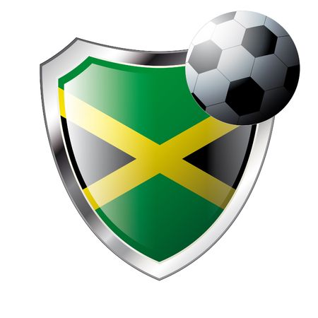 illustration - abstract soccer theme - shiny metal shield isolated on white background with flag of jamaica Vector