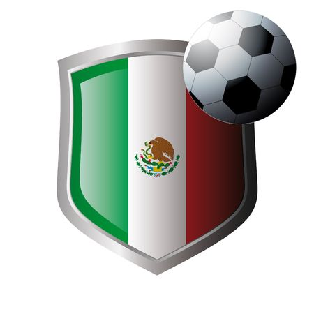 Vector illustration - abstract soccer theme - shiny metal shield isolated on white background with flag of mexico Vector
