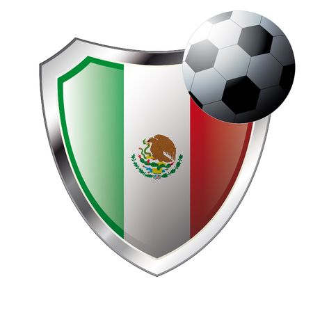 illustration - abstract soccer theme - shiny metal shield isolated on white background with flag of mexico Vector