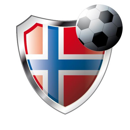 norway flag: Vector illustration - abstract soccer theme - shiny metal shield isolated on white background with flag of norway Illustration