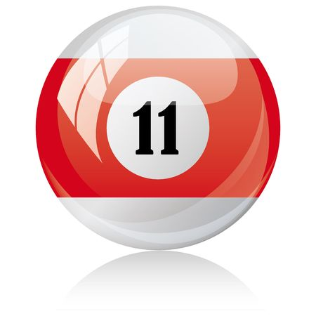 eleven: Vector illustration of a isolated glossy - eleven, half-red - pool ball against white background.