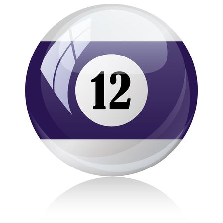 against white: Vector illustration of a isolated glossy - twelve, half-violet - pool ball against white background.