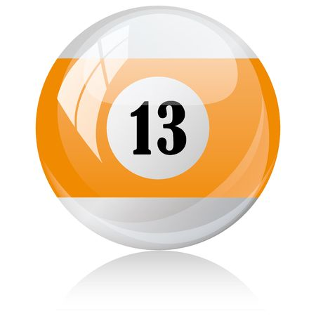 thirteen: Vector illustration of a isolated glossy - thirteen, half-orange - pool ball against white background. Illustration