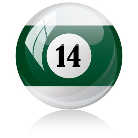 fourteen: Vector illustration of a isolated glossy - fourteen, half-green - pool ball against white background. Illustration