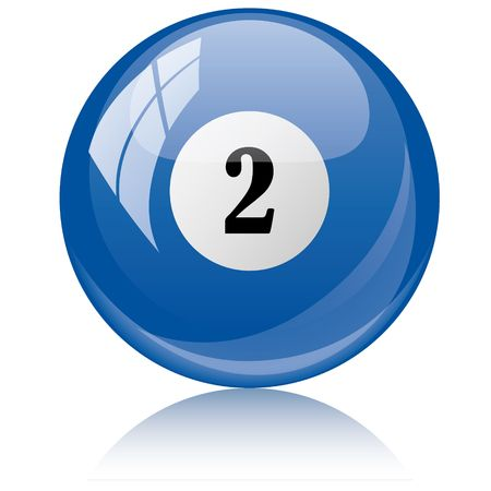 2 objects: Vector illustration of a isolated glossy - two, blue - pool ball against white background.