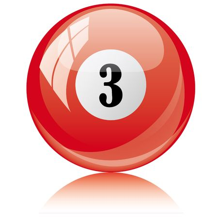 Vector illustration of a isolated glossy - three, red - pool ball against white background. Vector