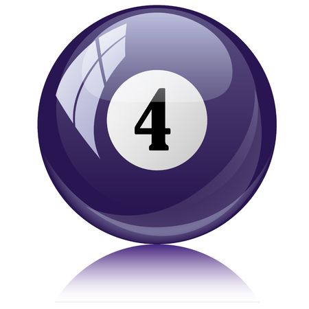 illustration of a isolated glossy - four, viole - pool ball against white background.