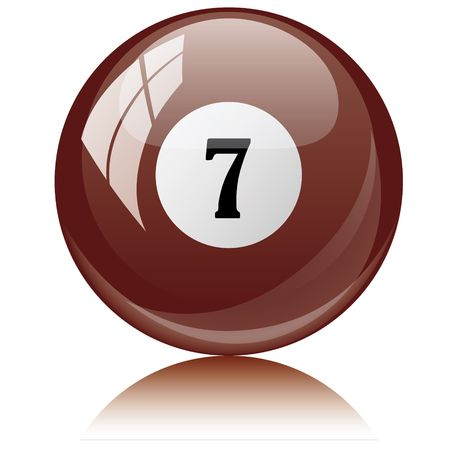 Vector illustration of a isolated glossy - seven, brown - pool ball against white background. Illustration