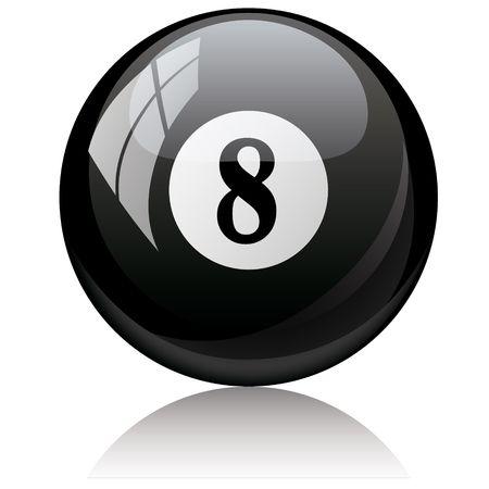 pool ball: Vector de la ilustraci�n de un brillante aislado - ocho, negro - pool bola sobre fondo blanco.