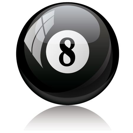 Vector illustration of a isolated glossy - eight, black - pool ball against white background. Vector