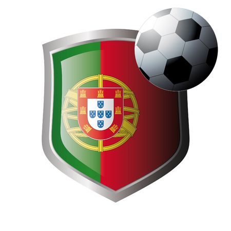 Vector illustration - abstract soccer theme - shiny metal shield isolated on white background with flag of portugal Stock Vector - 6905427