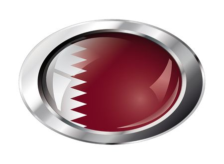 qatar shiny button flag vector illustration. Isolated abstract object against white background. Vector