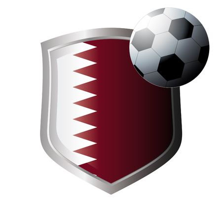 Vector illustration - abstract soccer theme - shiny metal shield isolated on white background with flag of qatar Stock Vector - 6905182
