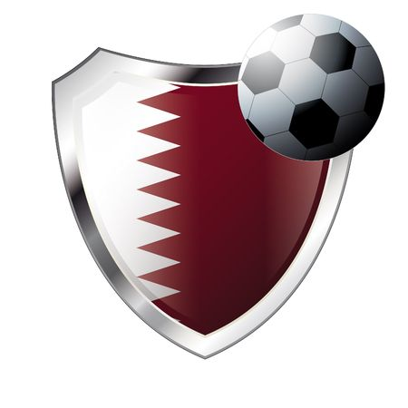 illustration - abstract soccer theme - shiny metal shield isolated on white background with flag of qatar Vector