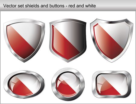 Vector illustration set. Shiny and glossy shield and button with red and white colors. Abstract objects isolated on white background. Vector