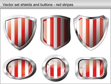 illustration set. Shiny and glossy shield and button with red and white colors. Abstract objects isolated on white background. Vector