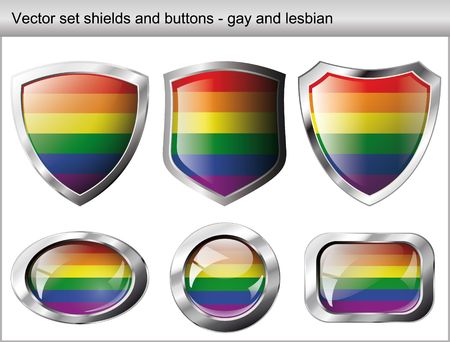 homosexuality: illustration set. Shiny and glossy shield and button for gay community. Abstract objects isolated on white background.