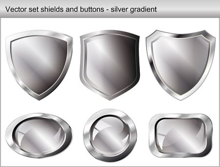 Vector illustration set. Shiny and glossy shield and button with silver colors. Abstract objects isolated on white background. Vector